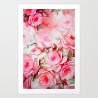 shabby chic Art Prints featuring Shabby Chic Pink by Jacqueline Maldonado