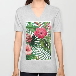 Tropical- Hibiscus and fern Unisex V-Neck