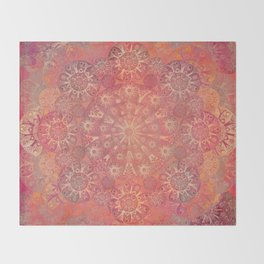 """Coral & Rosewood Mandala (pattern)"" Throw Blanket"