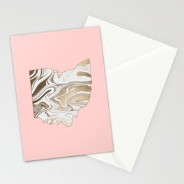 Gold marble Ohio map Stationery Cards