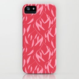 Leaf pattern, pink and red iPhone Case