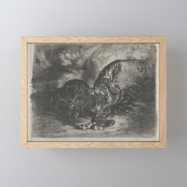 Wild Horse Felled by a Tiger,1828 Framed Mini Art Print