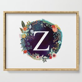 Personalized Monogram Initial Letter Z Floral Wreath Artwork Serving Tray