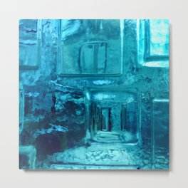 355 - Abstract Design through the Blue Bottle Metal Print