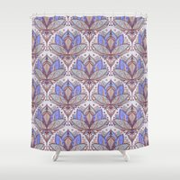 bedding Shower Curtains featuring Art Deco Lotus Rising 2 - sage grey & purple pattern by micklyn