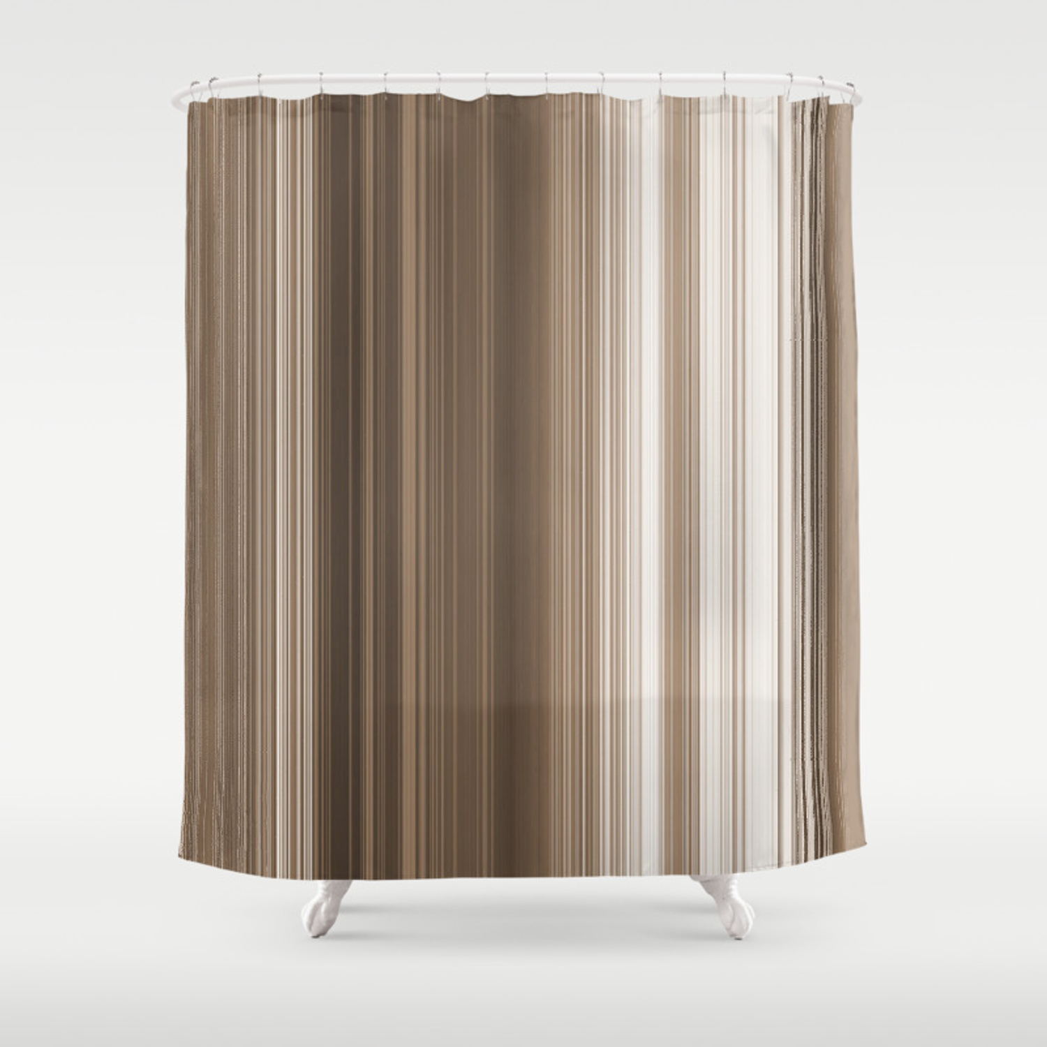 Taupe Skinny Stripes Shower Curtain