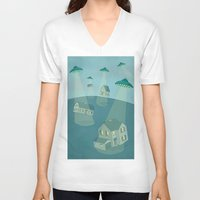 ufo V-neck T-shirts featuring UFO by Banessa Millet