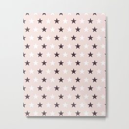Deep purple and white stars on pale pink Metal Print