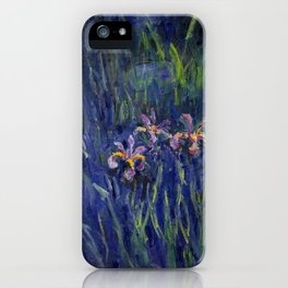 Irises No. 2 still life painting by Claude Monet iPhone Case
