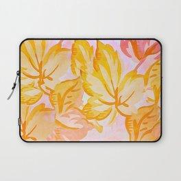 Soft Painterly Pastel Autumn Leaves Laptop Sleeve