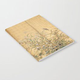 Japanese Edo Period Six-Panel Gold Leaf Screen - Spring and Autumn Flowers Notebook