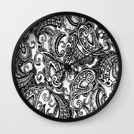 paisley batik black Wall Clock