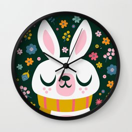 Bunny with a Scarf and Flowers / Cute Animal Wall Clock