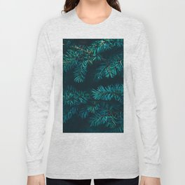 Pine Tree Close Up Neon Green Colorful Leaves Against A Black Background Long Sleeve T-shirt