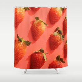 Pop Strawberry Shower Curtain