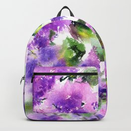 Lilac flowers. Watercolor lilac blossom. Violet florals. Backpack