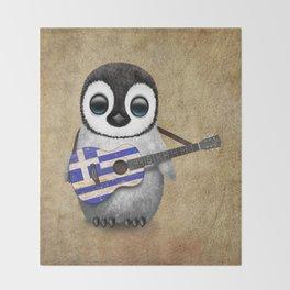 Baby Penguin Playing Greek Flag Guitar Throw Blanket