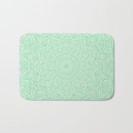 Most Detailed Mandala! Mint Green Color Intricate Detail Ethnic Mandalas Zentangle Maze Pattern Bath Mat