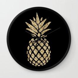 Gold Glitter Pineapple Wall Clock
