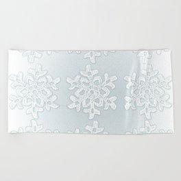 Crocheted Snowflake Ornaments on teal mist Beach Towel