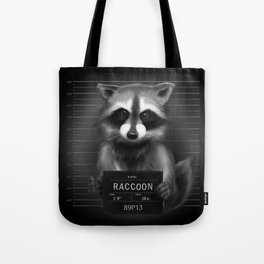 Raccoon Mugshot Tote Bag