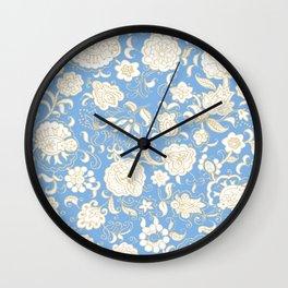 floral paisley boho aqua Wall Clock