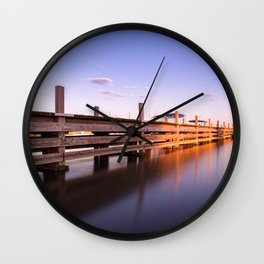 Jetty of lake Altmühlsee during sunset Wall Clock