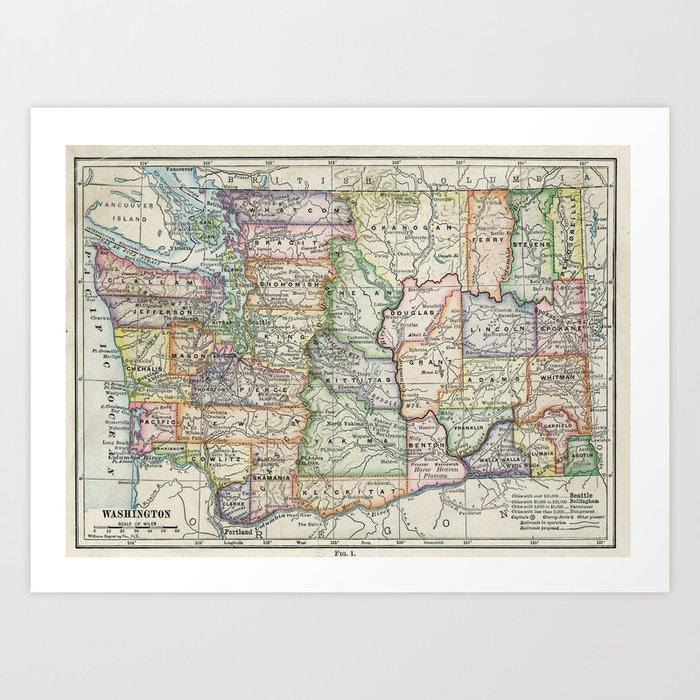 Map 1914.Vintage Map Of Washington State 1914 Art Print By Bravuramedia
