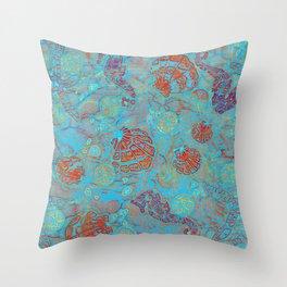 Batik Art Sea Life Illustration Throw Pillow