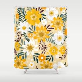 Floral Pattern, Yellow Flower Pattern Shower Curtain