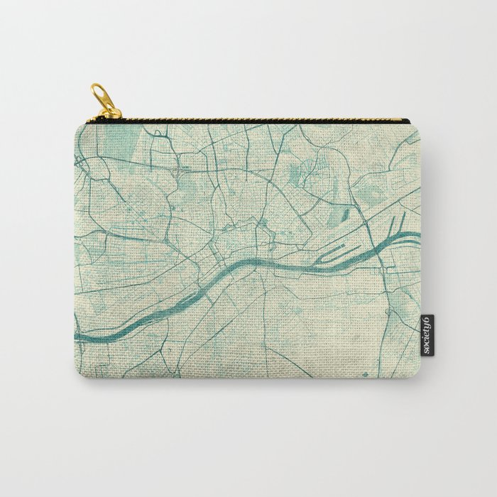Frankfurt Map Blue Vintage Carry-All Pouch