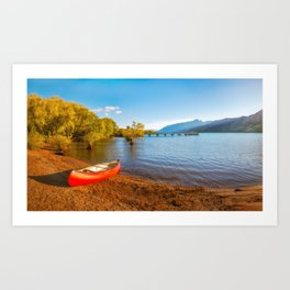 Glenorchy Wharf and pier at golden hour in New Zealand Art Print