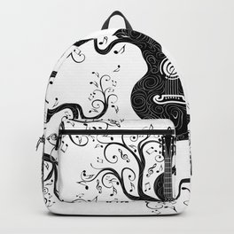 Guitar silhouette with tree branches and music notes Backpack