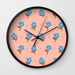 Abstraction_Little_Blue_Flowers Wall Clock
