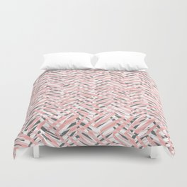 Boho Tropical Summer Abstract Pattern, Blush Pink, Coral and Gray Duvet Cover