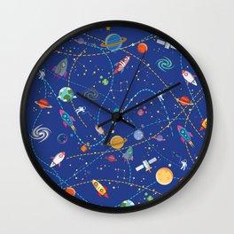 Space Rocket Pattern Wall Clock