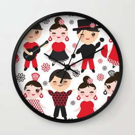 Spanish flamenco dancer. Kawaii cute face with pink cheeks and winking eyes. Gipsy Wall Clock