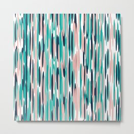 Colorful Stripes, Abstract Art, Teal, Pink, Navy Blue Blue Metal Print