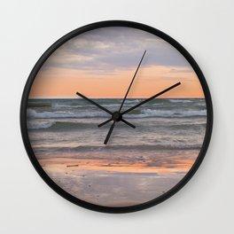 Peachy Keen Sunset Scene Wall Clock