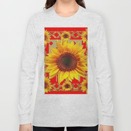 Ornate red Design Sunflower Art Long Sleeve T-shirt
