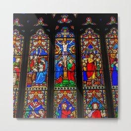 INRI Stained Glass Metal Print