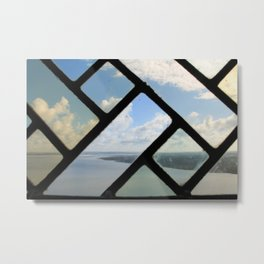 Cloudscape through stained glass window Metal Print
