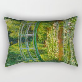 Claude Monet Impressionist Landscape Oil Painting-The Japanese Footbridge and the Water Lily Pool, Rectangular Pillow