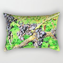 Hortus Conclusus: black grapes on the branch in the vineyard Rectangular Pillow