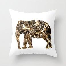 Gold Elephant Throw Pillow
