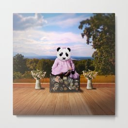Baby Panda on Vacation Metal Print