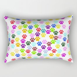 Dog Paws, Trails, Paw-prints - Red Blue Green Rectangular Pillow