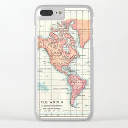 World Map - Colorful Continents Clear iPhone Case