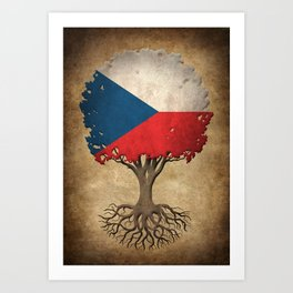 Vintage Tree of Life with Flag of Czech Republic Art Print
