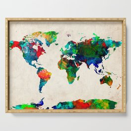 World map watercolor grunge Serving Tray